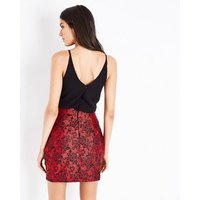 AX-Paris-Red-Floral-Brocade-2-in-1-Dress-New-Look