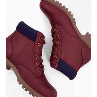 Teens Dark Red Contrast Cuff Lace Up Hiker Boots New Look