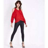 AX-Paris-Red-Pleated-Cold-Shoulder-Top-New-Look