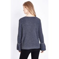 Mela Dark Grey Pearl Cuff Cable Knit Jumper New Look