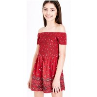 Girls Red Floral Shirred Bardot Playsuit New Look