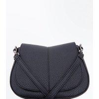Black Foldover Saddle Bag New Look