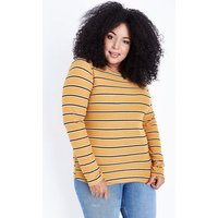Curves Mustard Yellow Stripe T-Shirt New Look