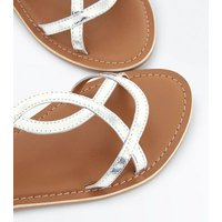 Teens Silver Leather Twist Strap Sandals New Look