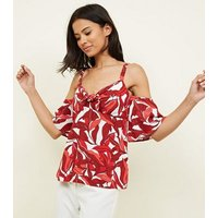 Red Tropical Tie Front Cold Shoulder Top New Look