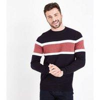 Navy Colour Block Stripe Sweatshirt New Look