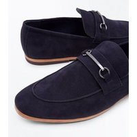 Navy Faux Suede Bar Front Loafers New Look