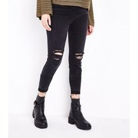 Maternity Black Ripped Over Bump Skinny Jeans New Look