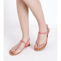 Bright Pink Diamante Strap Flat Sandals New Look