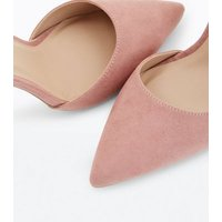 Nude Suedette Bow Back Pointed Courts New Look