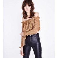 Camel Lace Long Sleeve Bardot Crop TOp New Look