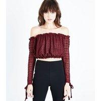 Burgundy Lace Bardot Crop Top New Look