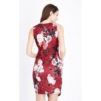 Blue Vanilla Red Floral Print Wrap Front Dress New Look
