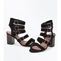 Wide Fit Black Suedette Multi Strap Heels New Look