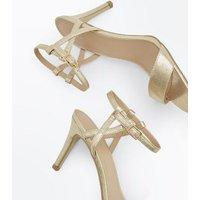 Gold Metallic Twist Strap Stiletto Sandals New Look