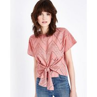 Coral Embroidered Cut Out Tie Front T-Shirt New Look