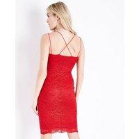 Red Lace Strappy Bodycon Midi Dress New Look