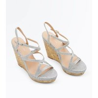 Silver Glitter Strappy Cork Wedges New Look