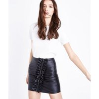 Cameo Rose Black Frill Zip Leather-Look Mini Skirt New Look
