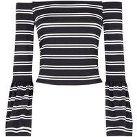 Black Stripe Bell Sleeve Bardot Neck Top New Look