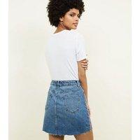 Blue Side Stripe Raw Hem Denim Skirt New Look