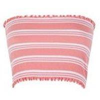 Teens Orange Stripe Shirred Bandeau Top New Look