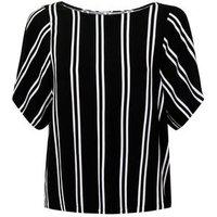 JDY Black Stripe Woven T-Shirt New Look