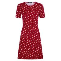 Tall Red Ditsy Floral Soft Touch Skater Dress New Look