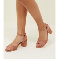 Girls Pink Suedette Cross Front Block Heels New Look