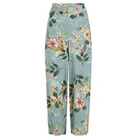 Green Floral Jacquard Wide Leg Cropped trousers New Look