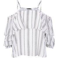White Stripe Tiered  Sleeve Bardot Top New Look