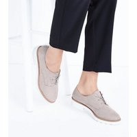 Grey Suedette Chunky Lace Up Shoes New Look
