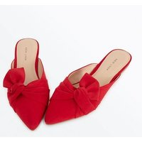 Red Suedette Bow Knot Pointed Mules New Look