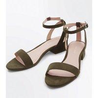 Khaki Suedette Low Block Heel Sandals New Look