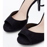 Wide Fit Black Suedette Bow Back Stiletto Heels New Look
