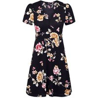 Petite Black Floral Wrap Skater Dress New Look