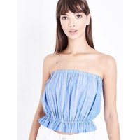 Blue Stripe Gathered Bandeau Top New Look