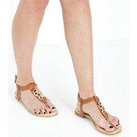 Tan Chain Strap Flat Sandals New Look