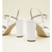 Wide Fit Off White Satin Heeled Wedding Sandals New Look