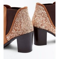 Tan Glitter Back Block Heel Ankle Boots New Look