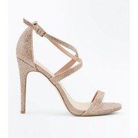 Gold Glitter Strappy Stiletto Sandals New Look