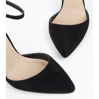 Black Suedette Ribbon Trim Pointed Heels New Look