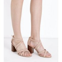 Wide Fit Nude Suedette Strappy Wood Heels New Look
