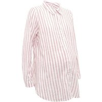 Maternity Pink Stripe Crinkle Cotton Shirt New Look