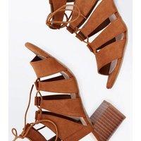 Tan Comfort Flex Suedette Ghillie Heels New Look