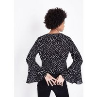 Black Spot Print Bell Sleeve Ruched Wrap Top New Look