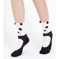 White and Black Pom Pom Ear Panda Socks New Look