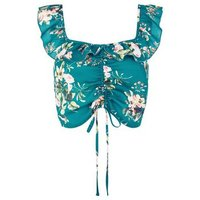 Green Floral Ruched Frill Trim Crop Top New Look