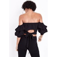 Cameo Rose Black Tiered Sleeve Bardot Neck Top New Look