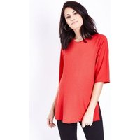 Maternity Red Side Split Ribbed Tunic Top New Look